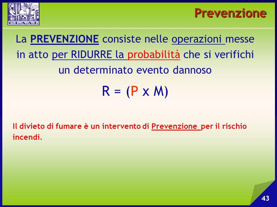 43 Prevenzione La PREVENZIONE consiste nelle operazioni messe in atto per RIDURRE la probabilità che si verifichi un determinato evento dannoso R = (P