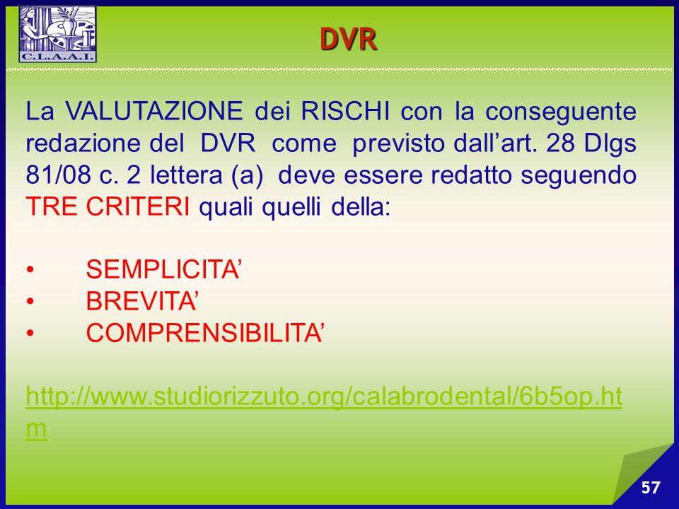 57 La VALUTAZIONE dei RISCHI con la conseguente redazione del DVR come previsto dall'art. 28 Dlgs 81/08 c. 2 lettera (a) deve essere redatto seguendo