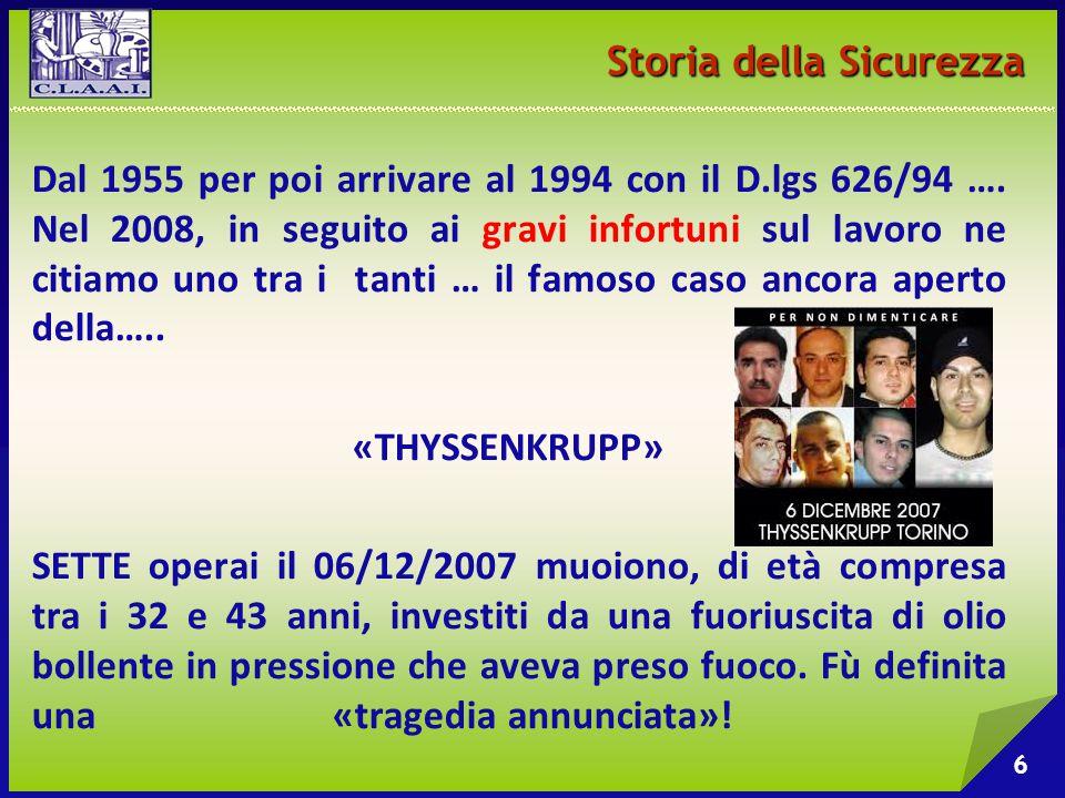 Storia della Sicurezza La CAUSA….?....