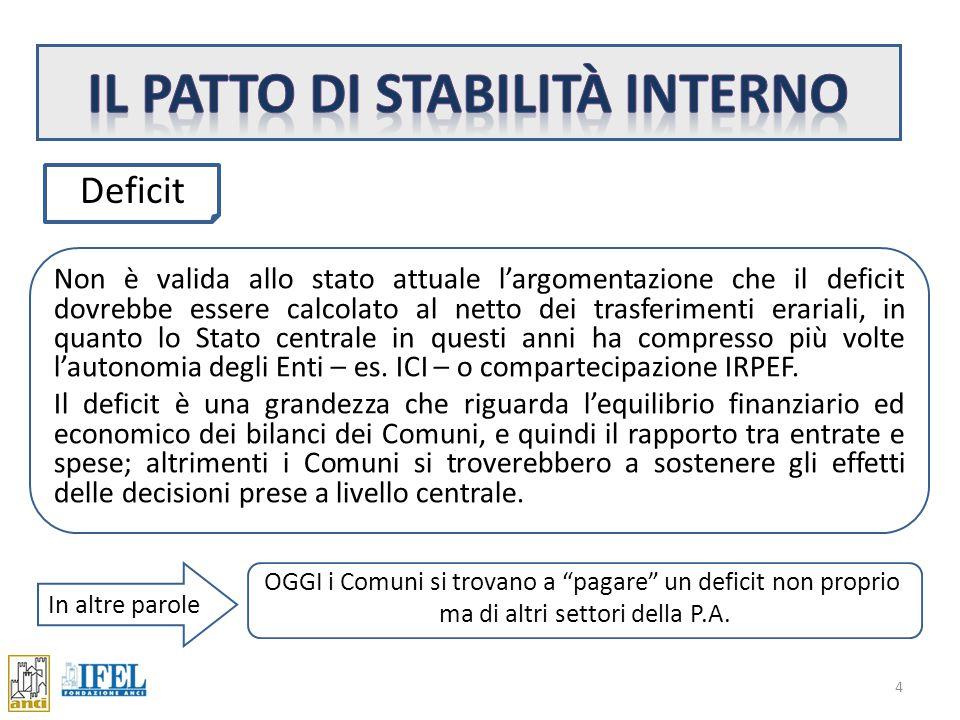 Il saldo ISTAT del conto economico è calcolato considerando: c Entrate correnti proprie (competenza) + compart.