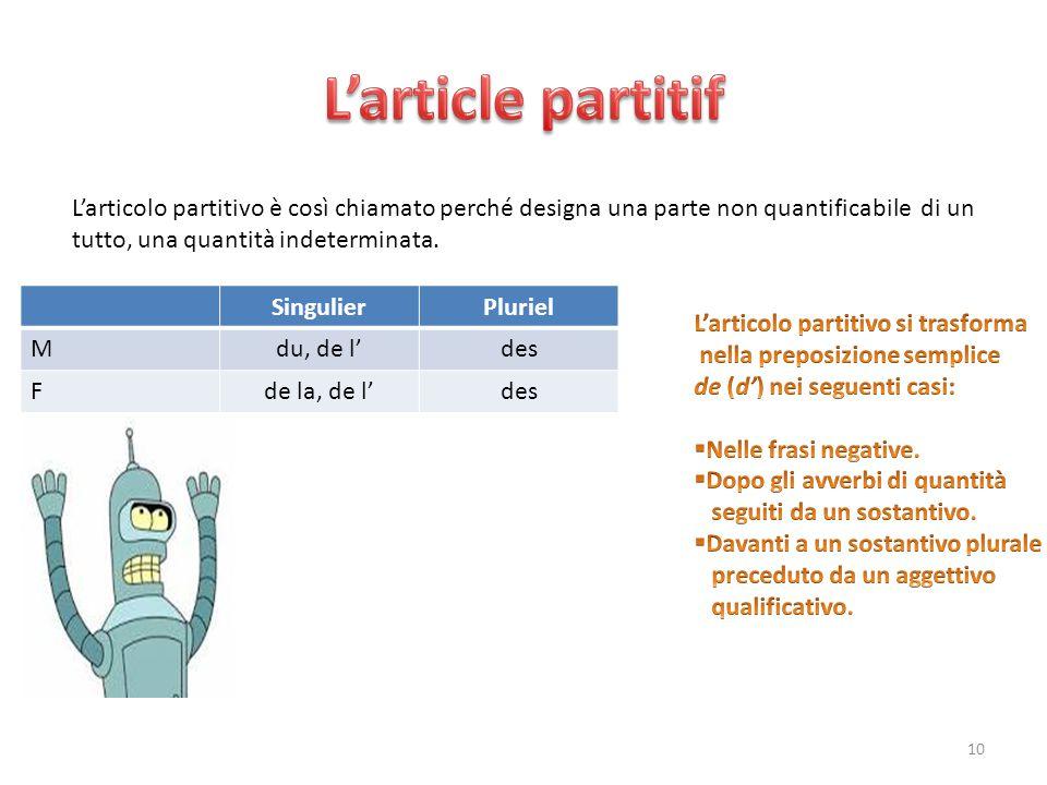 L'articolo partitivo è così chiamato perché designa una parte non quantificabile di un tutto, una quantità indeterminata. SingulierPluriel Mdu, de l'd