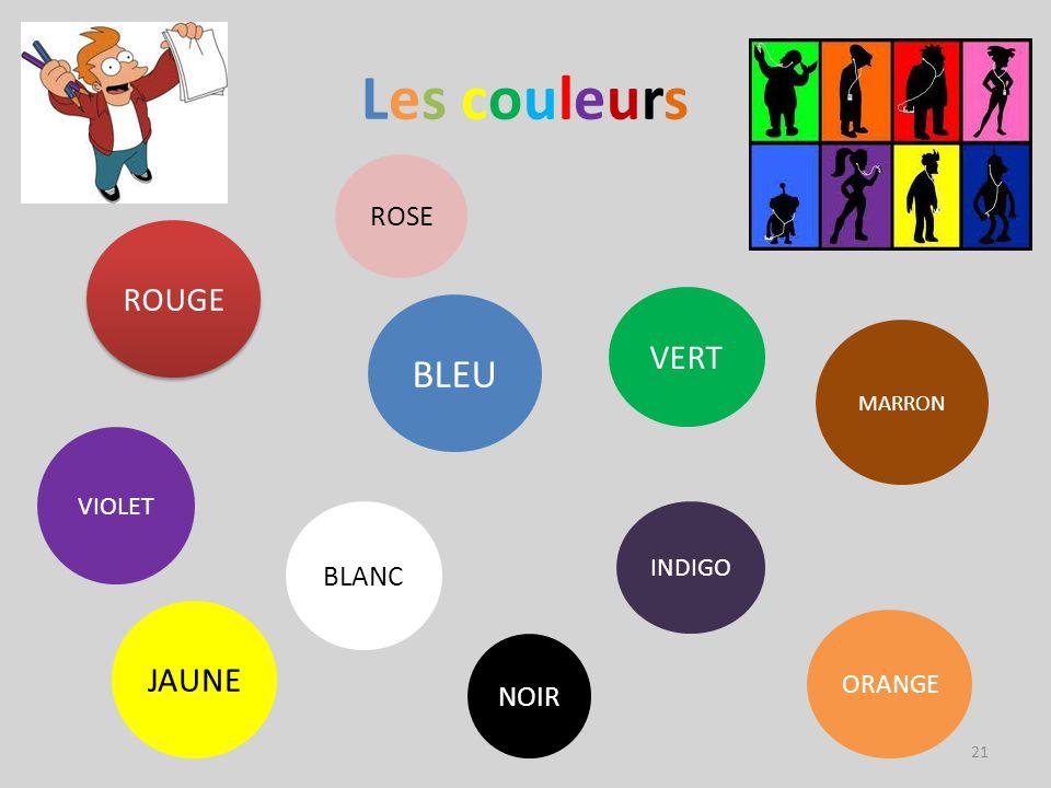 Les couleursLes couleurs ROUGE ORANGE JAUNE VERT BLEU ROSE INDIGO VIOLET BLANC NOIR MARRON 21