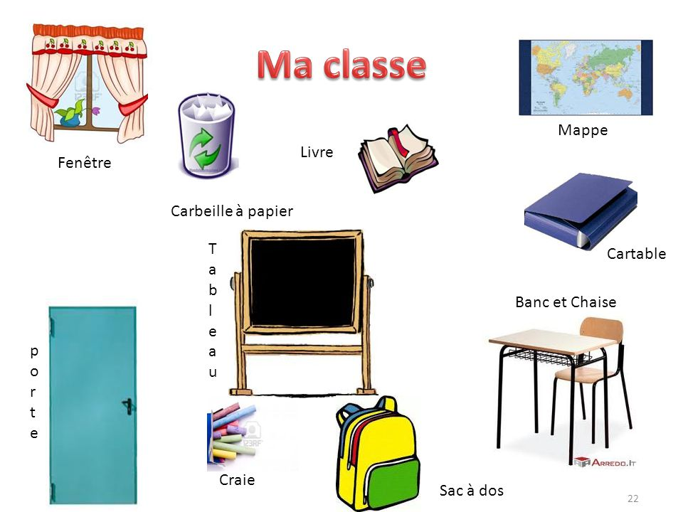 22 Fenêtre Livre TableauTableau Craie Sac à dos Mappe Cartable Banc et Chaise porteporte Carbeille à papier