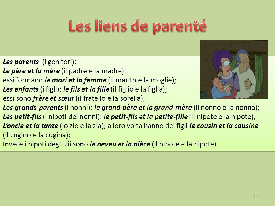 Les parents (i genitori): Le père et la mère (il padre e la madre); essi formano le mari et la femme (il marito e la moglie); Les enfants (i figli): l