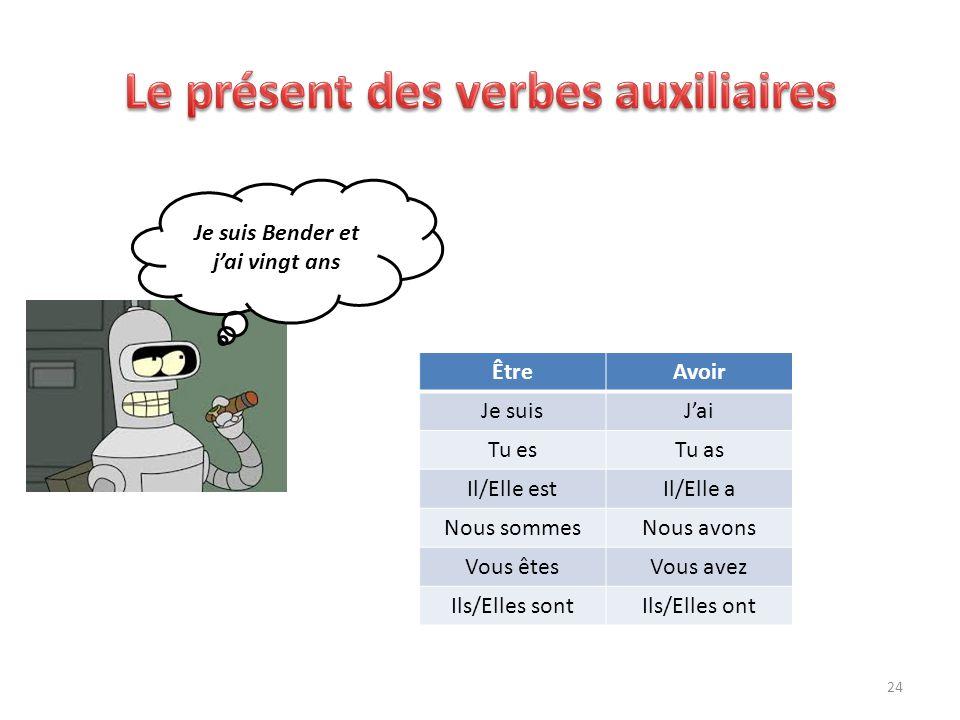 Je suis Bender et j'ai vingt ans ÊtreAvoir Je suisJ'ai Tu esTu as Il/Elle estIl/Elle a Nous sommesNous avons Vous êtesVous avez Ils/Elles sontIls/Elle