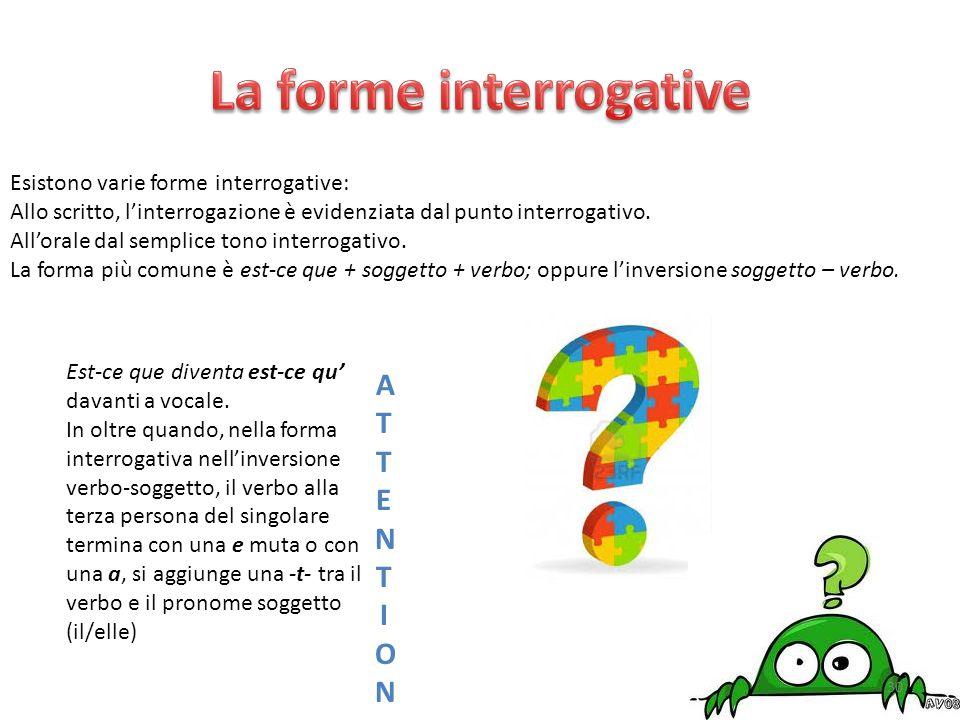 Esistono varie forme interrogative: Allo scritto, l'interrogazione è evidenziata dal punto interrogativo. All'orale dal semplice tono interrogativo. L