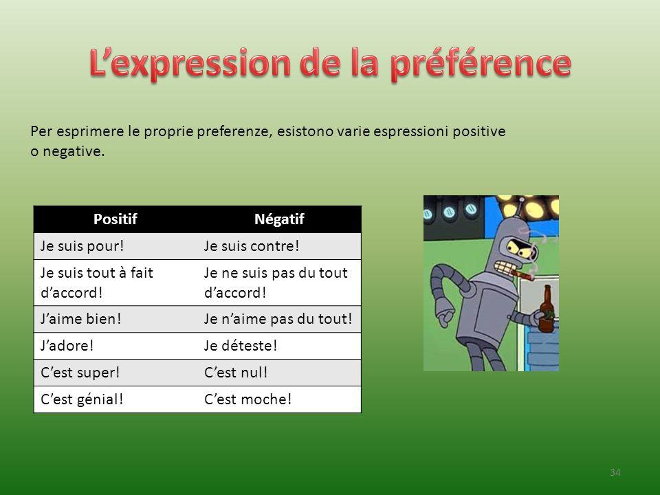 Per esprimere le proprie preferenze, esistono varie espressioni positive o negative. PositifNégatif Je suis pour!Je suis contre! Je suis tout à fait d