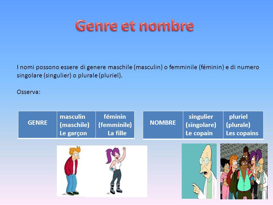 I nomi possono essere di genere maschile (masculin) o femminile (féminin) e di numero singolare (singulier) o plurale (pluriel). Osserva: GENRE mascul