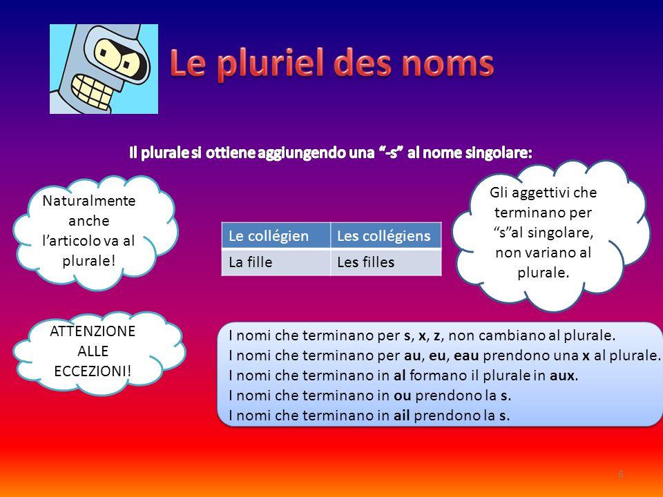 Le collégienLes collégiens La filleLes filles Naturalmente anche l'articolo va al plurale! ATTENZIONE ALLE ECCEZIONI! I nomi che terminano per s, x, z