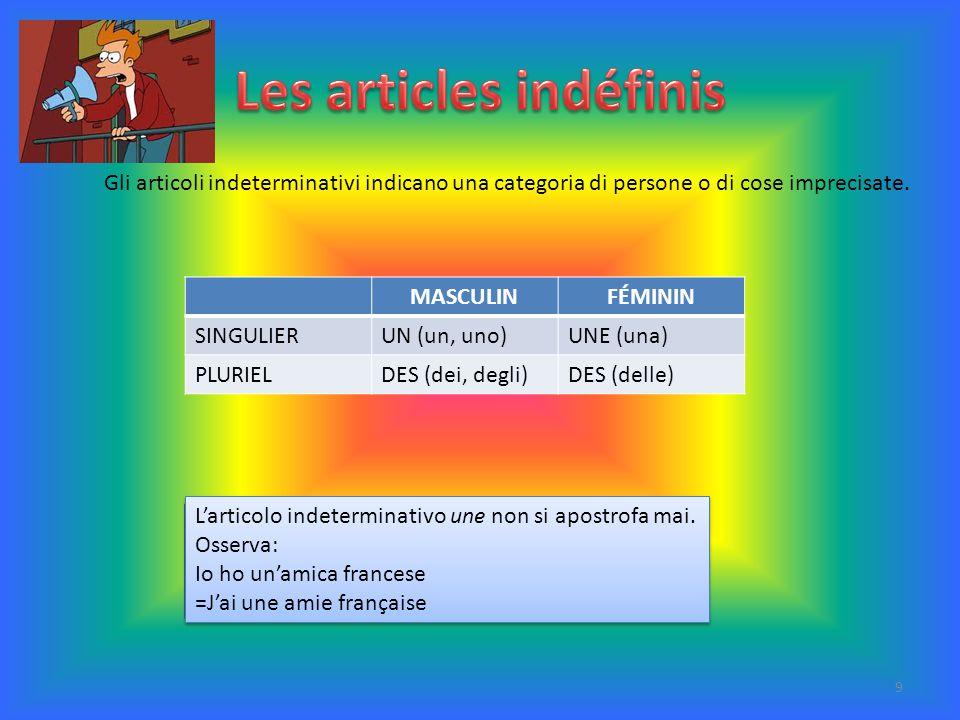 MASCULINFÉMININ SINGULIERUN (un, uno)UNE (una) PLURIELDES (dei, degli)DES (delle) Gli articoli indeterminativi indicano una categoria di persone o di