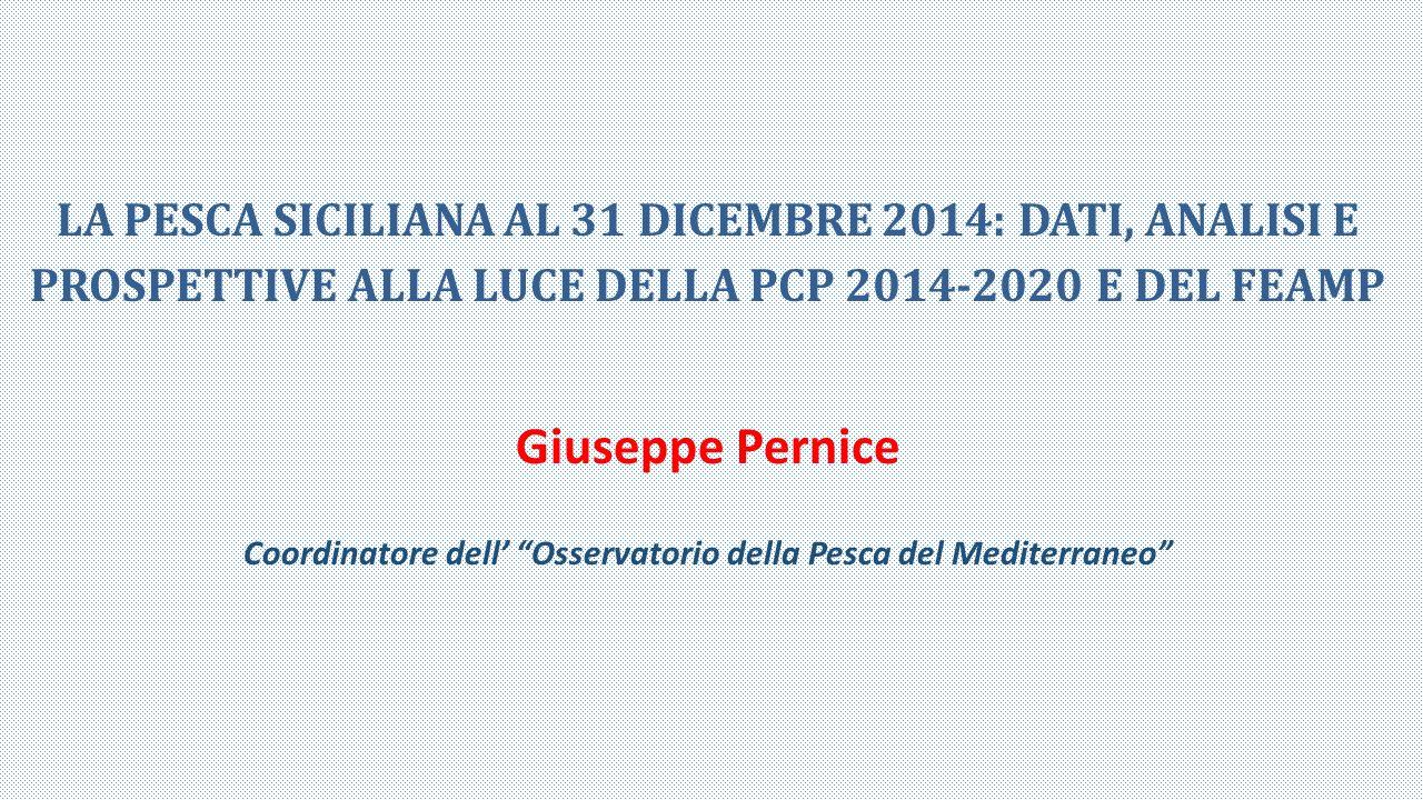 LA PESCA SICILIANA AL 31 DICEMBRE 2014: DATI, ANALISI E PROSPETTIVE ALLA LUCE DELLA PCP 2014-2020 E DEL FEAMP Giuseppe Pernice Coordinatore dell' Osservatorio della Pesca del Mediterraneo