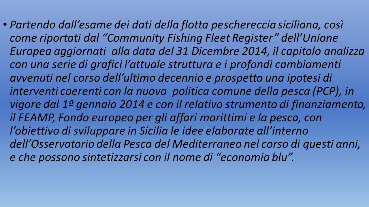 Partendo dall'esame dei dati della flotta peschereccia siciliana, così come riportati dal Community Fishing Fleet Register dell'Unione Europea aggiornati alla data del 31 Dicembre 2014, il capitolo analizza con una serie di grafici l'attuale struttura e i profondi cambiamenti avvenuti nel corso dell'ultimo decennio e prospetta una ipotesi di interventi coerenti con la nuova politica comune della pesca (PCP), in vigore dal 1º gennaio 2014 e con il relativo strumento di finanziamento, il FEAMP, Fondo europeo per gli affari marittimi e la pesca, con l'obiettivo di sviluppare in Sicilia le idee elaborate all'interno dell'Osservatorio della Pesca del Mediterraneo nel corso di questi anni, e che possono sintetizzarsi con il nome di economia blu .
