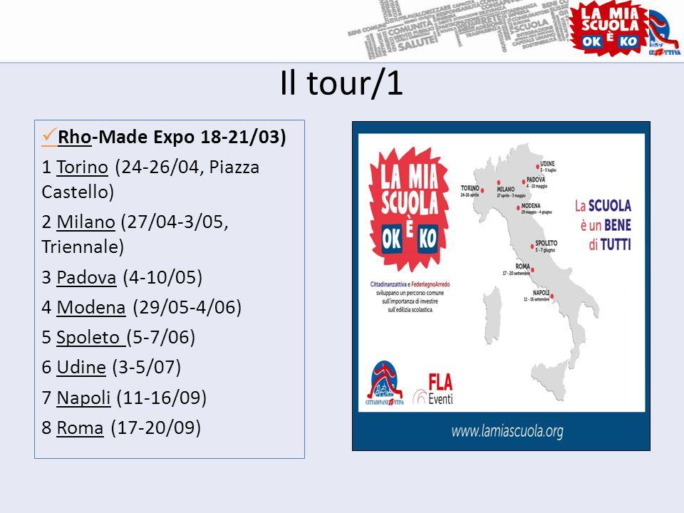 Il tour/1  Rho-Made Expo 18-21/03) 1 Torino (24-26/04, Piazza Castello) 2 Milano (27/04-3/05, Triennale) 3 Padova (4-10/05) 4 Modena (29/05-4/06) 5 Spoleto (5-7/06) 6 Udine (3-5/07) 7 Napoli (11-16/09) 8 Roma (17-20/09)