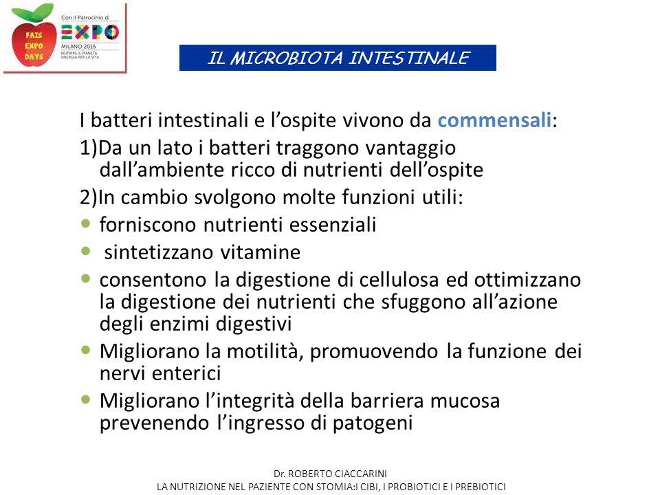 I batteri intestinali e l'ospite vivono da commensali: 1)Da un lato i batteri traggono vantaggio dall'ambiente ricco di nutrienti dell'ospite 2)In cam
