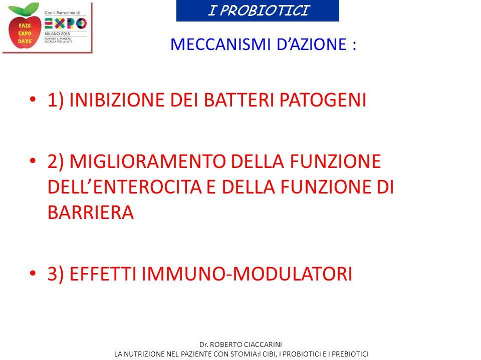 MECCANISMI D'AZIONE : 1) INIBIZIONE DEI BATTERI PATOGENI 2) MIGLIORAMENTO DELLA FUNZIONE DELL'ENTEROCITA E DELLA FUNZIONE DI BARRIERA 3) EFFETTI IMMUN