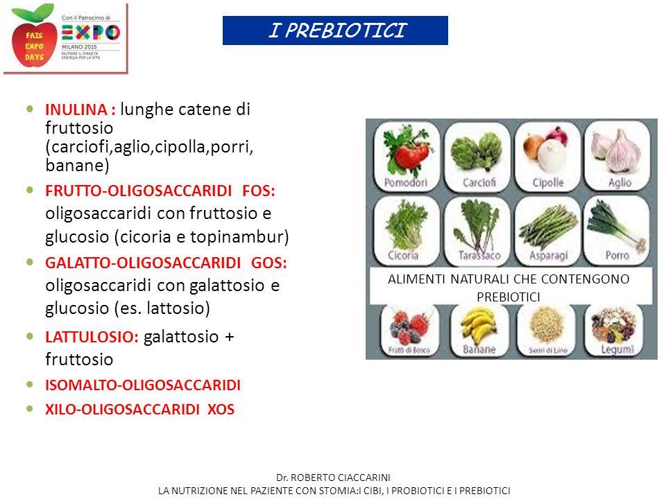 INULINA : lunghe catene di fruttosio (carciofi,aglio,cipolla,porri, banane ) FRUTTO-OLIGOSACCARIDI FOS: oligosaccaridi con fruttosio e glucosio (cicor