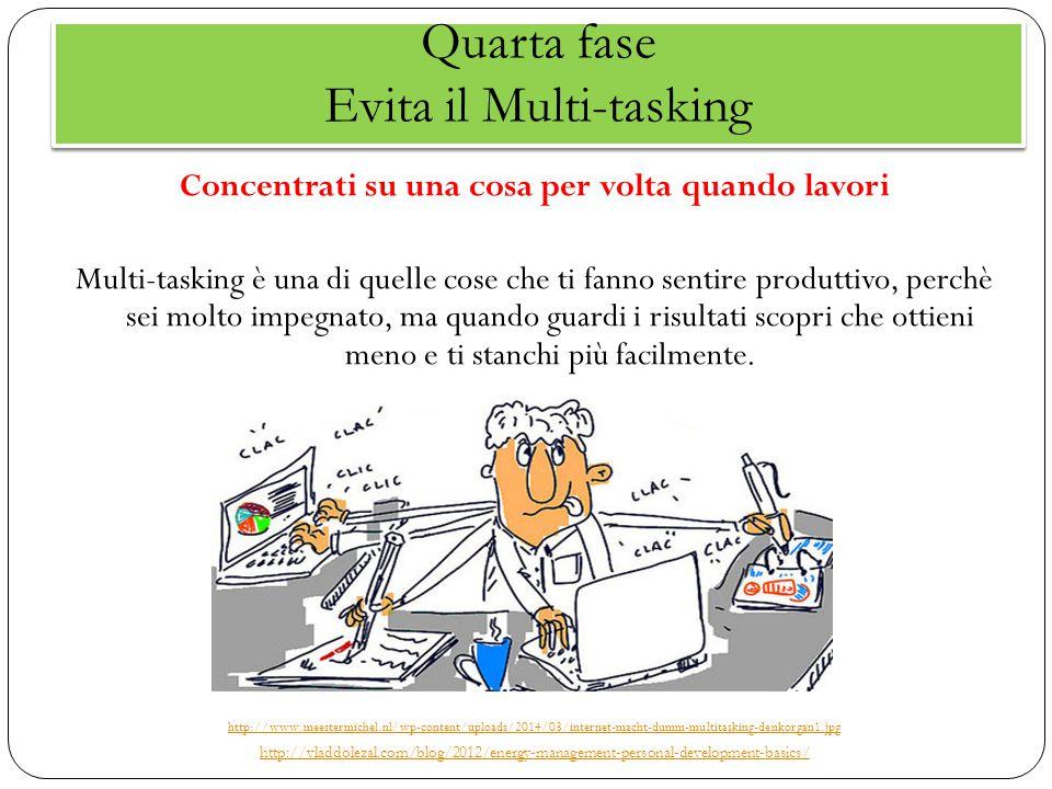 Quarta fase Evita il Multi-tasking Concentrati su una cosa per volta quando lavori Multi-tasking è una di quelle cose che ti fanno sentire produttivo,