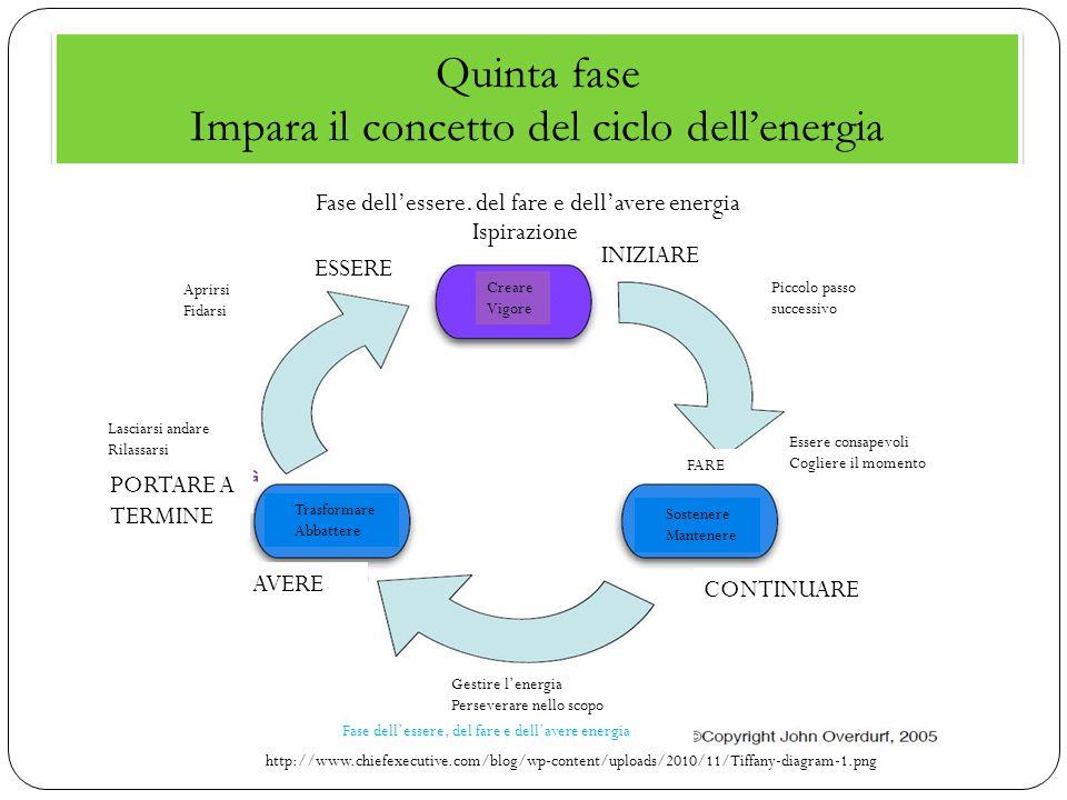 Quinta fase Impara il concetto del ciclo dell'energia http://www.chiefexecutive.com/blog/wp-content/uploads/2010/11/Tiffany-diagram-1.png Fase dell'es