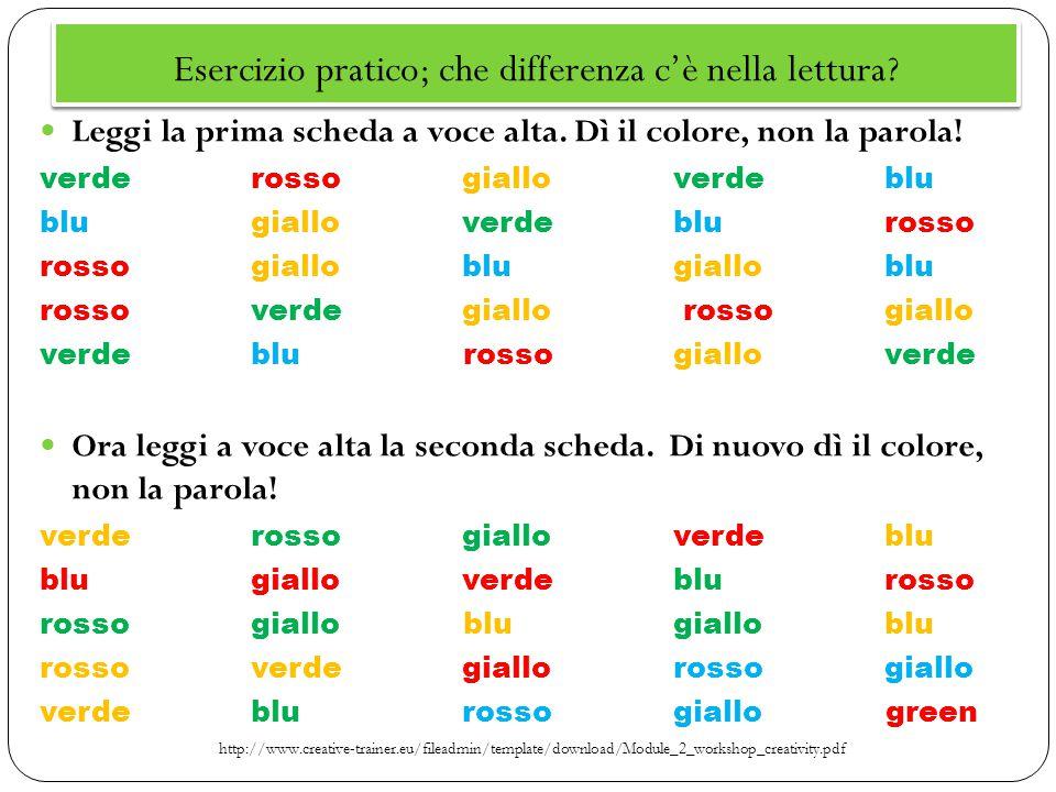 Esercizio pratico; che differenza c'è nella lettura? Leggi la prima scheda a voce alta. Dì il colore, non la parola! verderossogialloverdeblu blugiall