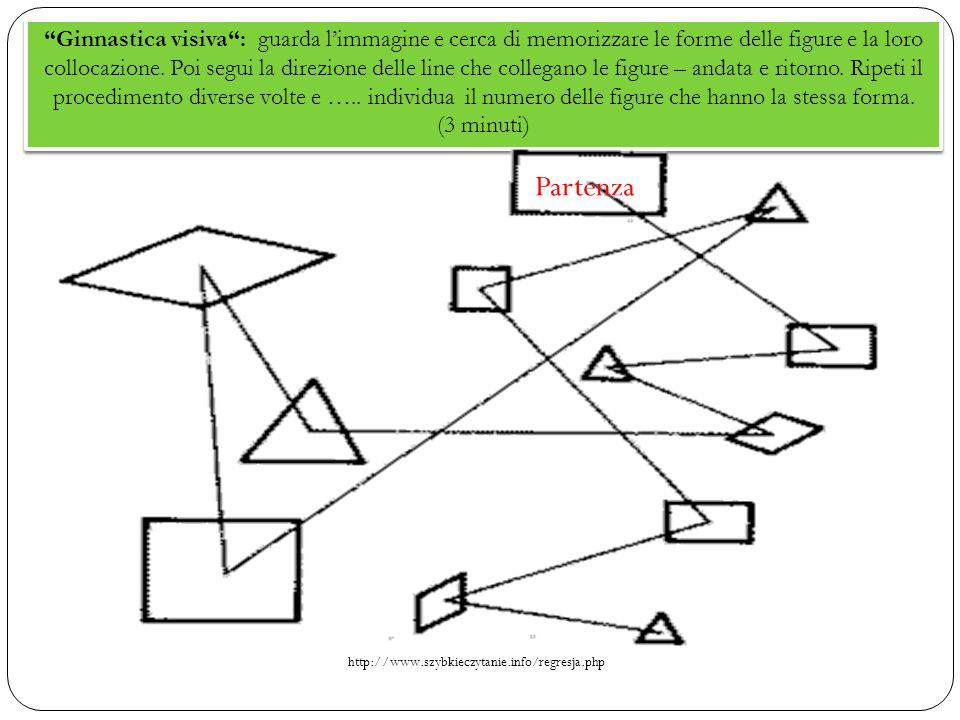 """""""Ginnastica visiva"""": guarda l'immagine e cerca di memorizzare le forme delle figure e la loro collocazione. Poi segui la direzione delle line che coll"""