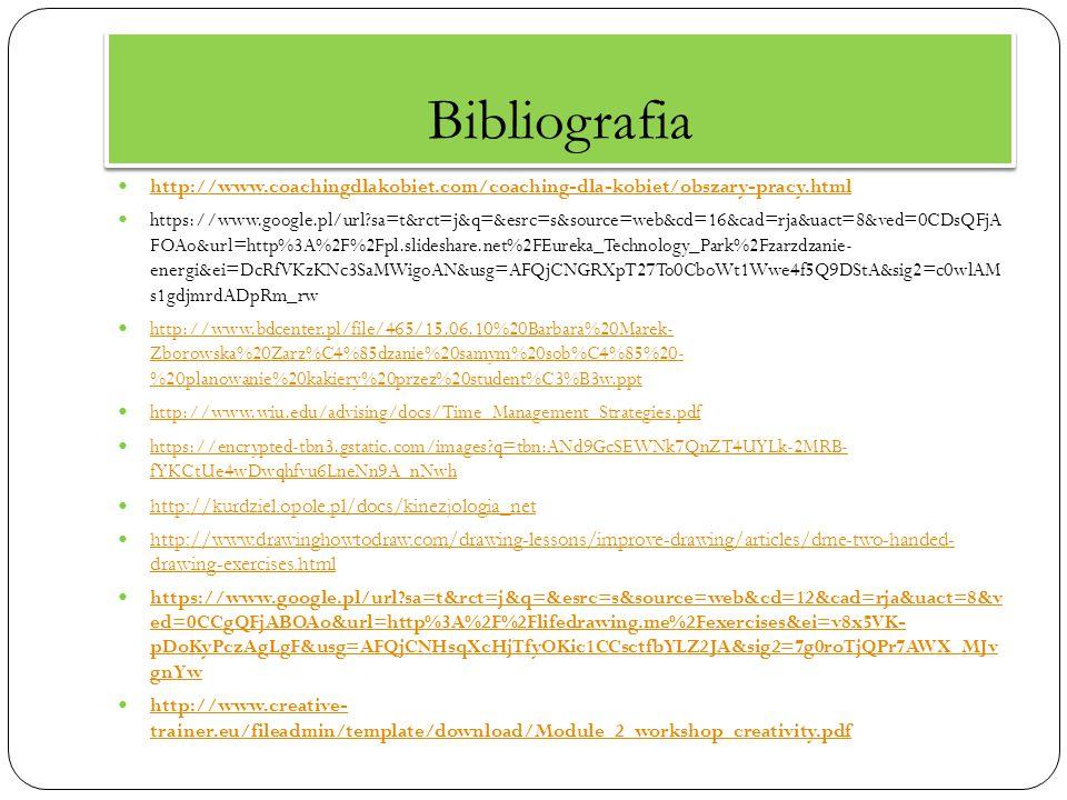 Bibliografia http://www.coachingdlakobiet.com/coaching-dla-kobiet/obszary-pracy.html https://www.google.pl/url?sa=t&rct=j&q=&esrc=s&source=web&cd=16&c