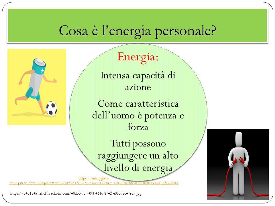 Cosa è l'energia personale? Energia: Intensa capacità di azione Come caratteristica dell'uomo è potenza e forza Tutti possono raggiungere un alto live