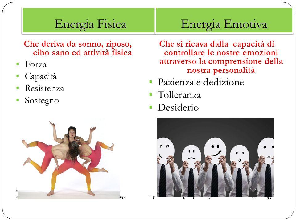 Energia Fisica Energia Fisica Energia Emotiva Che deriva da sonno, riposo, cibo sano ed attività fisica  Forza  Capacità  Resistenza  Sostegno htt