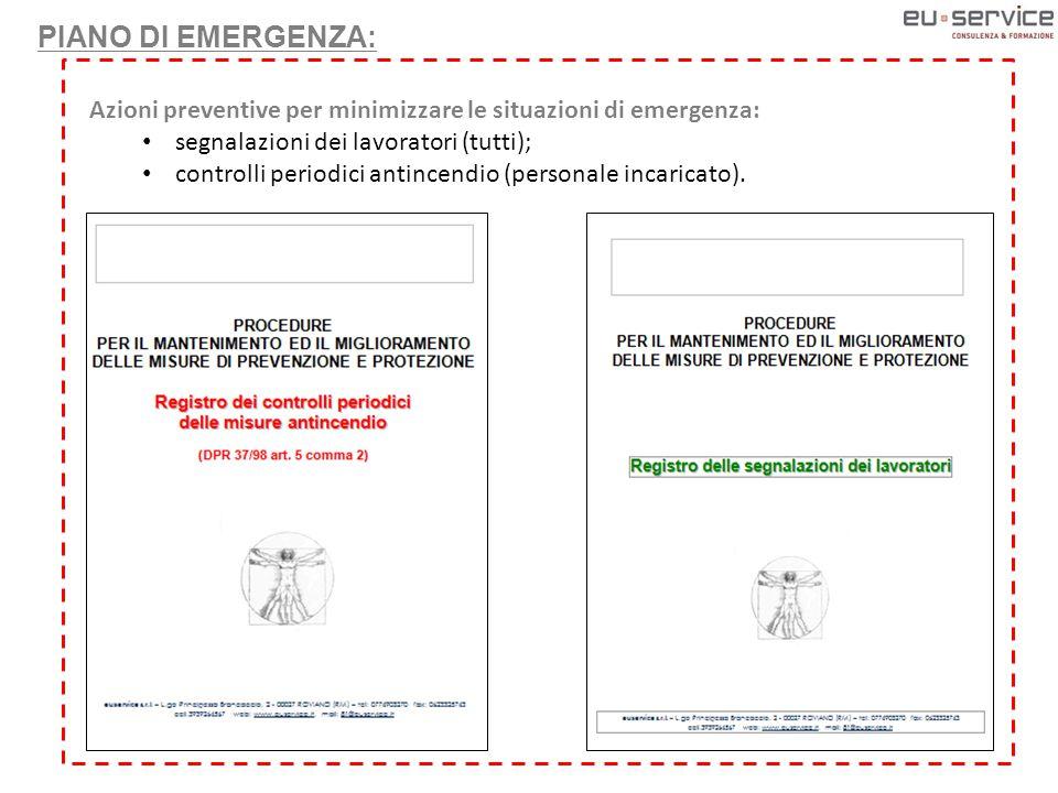 Azioni preventive per minimizzare le situazioni di emergenza: segnalazioni dei lavoratori (tutti); controlli periodici antincendio (personale incaricato).