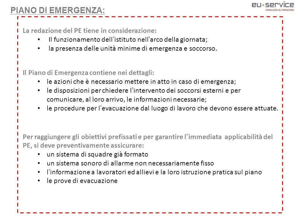 La redazione del PE tiene in considerazione: Il funzionamento dell'istituto nell'arco della giornata; la presenza delle unità minime di emergenza e soccorso.