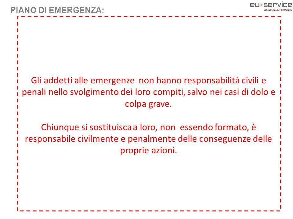 PIANO DI EMERGENZA: Il ruolo dell'addetto alle emergenze portarsi nel luogo dell'emergenza far diramare il segnale acustico appropriato (evacuazione o cessato allarme) Riferire, al Coordinatore Responsabile dell'evacuazione di emergenza, sulla situazione di emergenza in atto Se necessario chiamare o far chiamare, i competenti uffici pubblici di emergenza: VIGILI DEL FUOCO 115 PRONTO SOCCORSO 118 In mancanza di tale azione si commette OMISSIONE DI SOCCORSO In assenza degli addetti antincendio e primo soccorso?