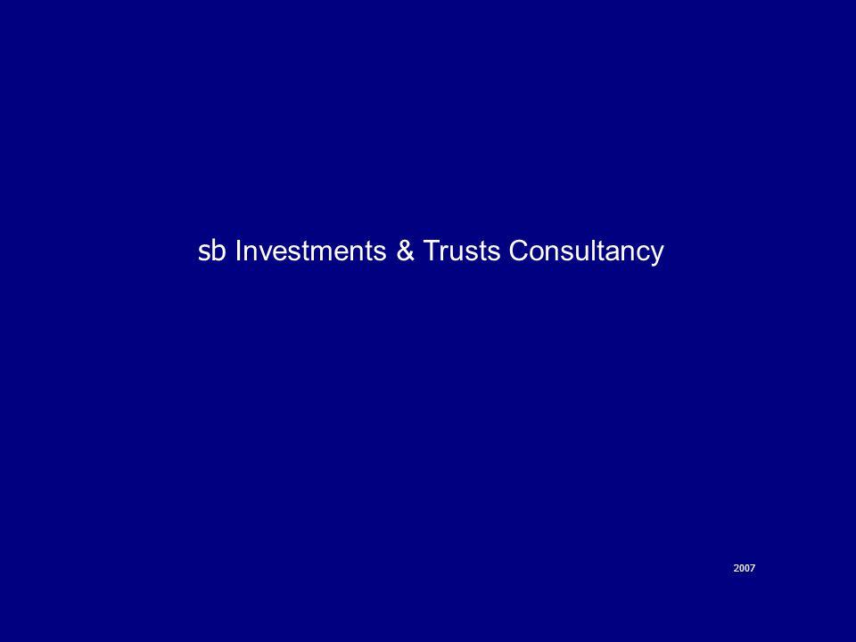 Trasparenza e dedizione al Cliente sb Investments & Trusts Consultancy è stato fondato nel 2001 da un gruppo di professionisti con un'estesa esperienza nei mercati finanziari e nel business service.