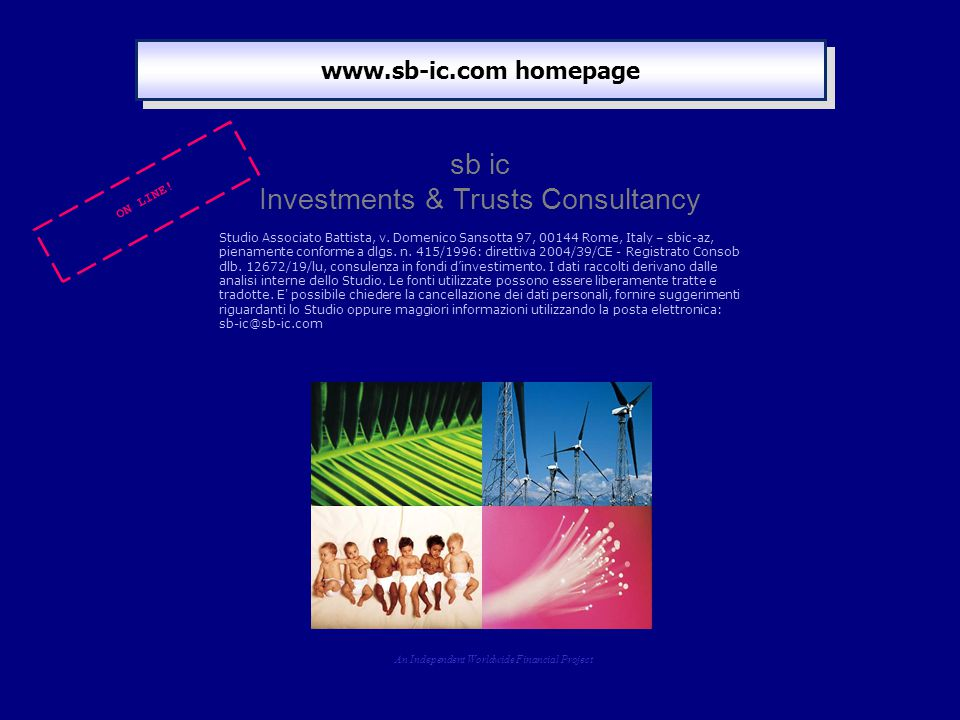 www.sb-ic.com homepage An Independent Worldwide Financial Project sb ic Investments & Trusts Consultancy Studio Associato Battista, v.