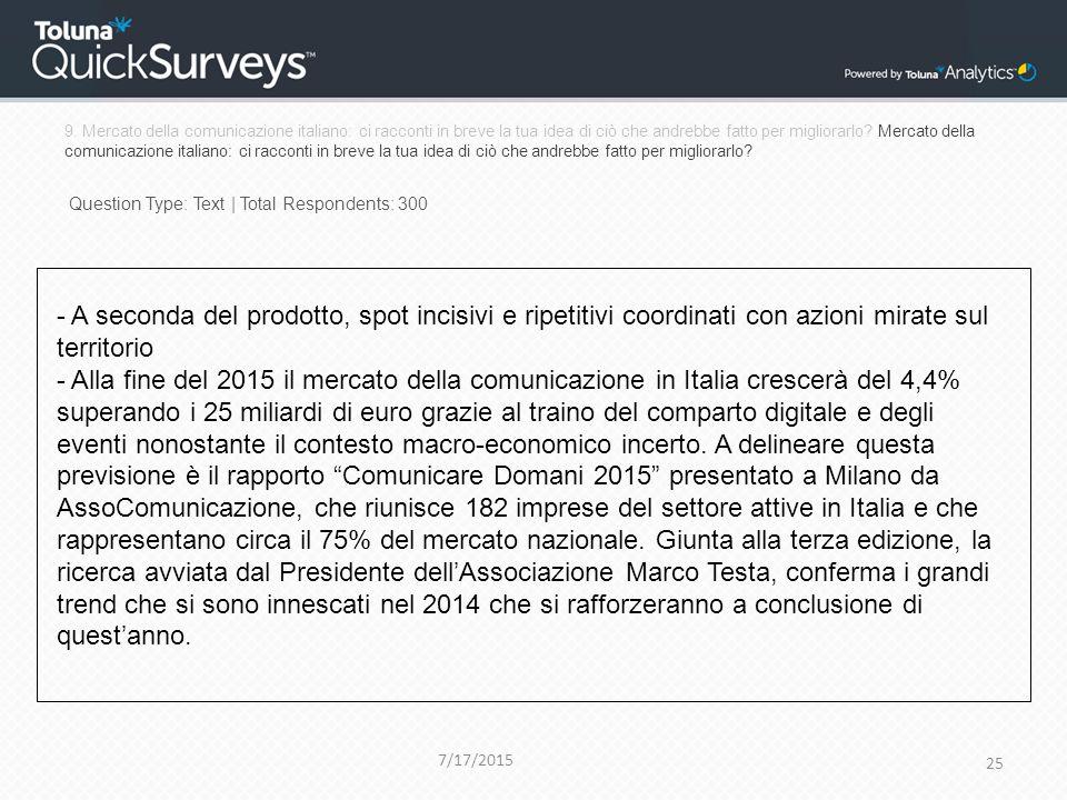 9. Mercato della comunicazione italiano: ci racconti in breve la tua idea di ciò che andrebbe fatto per migliorarlo? Mercato della comunicazione itali