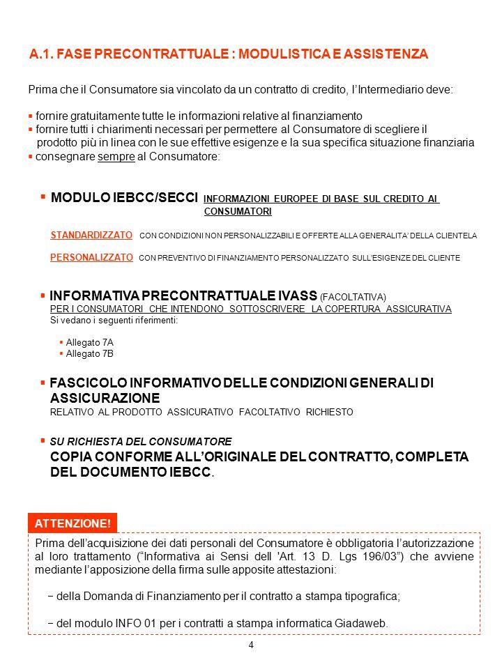4 Prima che il Consumatore sia vincolato da un contratto di credito, l'Intermediario deve:  fornire gratuitamente tutte le informazioni relative al f