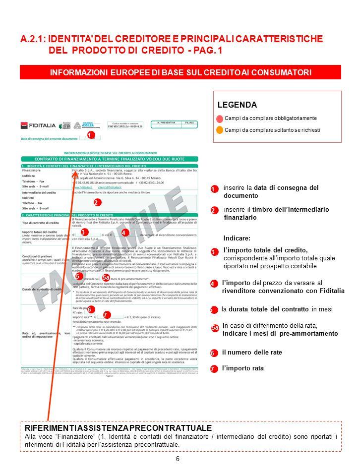 INFORMAZIONI EUROPEE DI BASE SUL CREDITO AI CONSUMATORI 1 1 inserire la data di consegna del documento 2 3 Indicare: l'importo totale del credito, cor