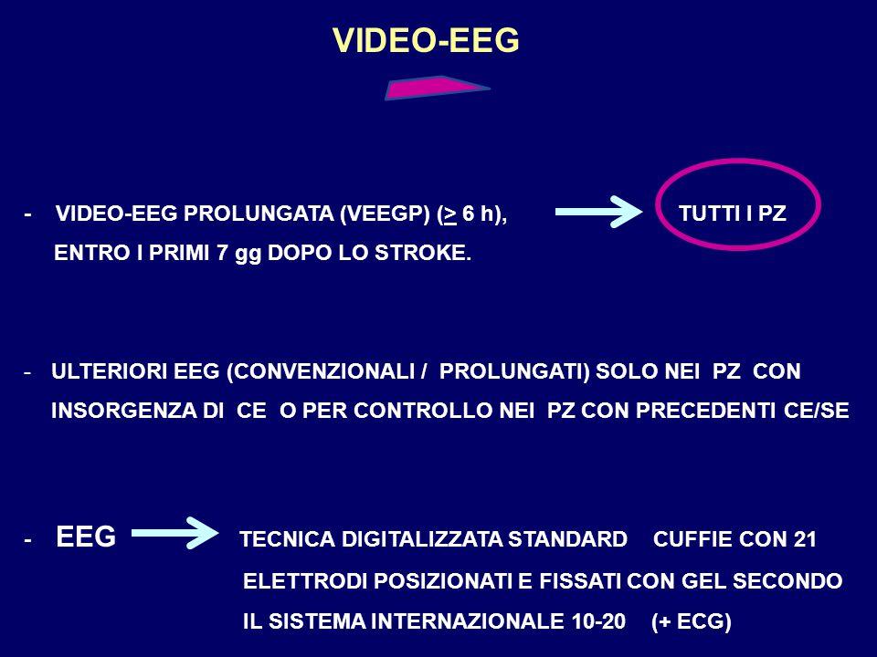VIDEO-EEG - VIDEO-EEG PROLUNGATA (VEEGP) (> 6 h), TUTTI I PZ ENTRO I PRIMI 7 gg DOPO LO STROKE. -ULTERIORI EEG (CONVENZIONALI / PROLUNGATI) SOLO NEI P