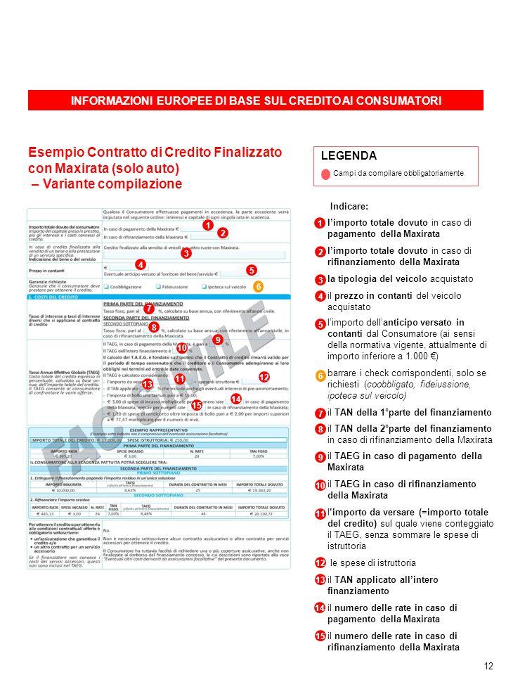 INFORMAZIONI EUROPEE DI BASE SUL CREDITO AI CONSUMATORI 12 LEGENDA Campi da compilare obbligatoriamente 7 1 Esempio Contratto di Credito Finalizzato c