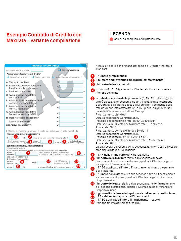 """16 Esempio Contratto di Credito con Maxirata – variante compilazione Fino alla voce Importo Finanziato: come da """"Credito Finalizzato Standard"""" il nume"""