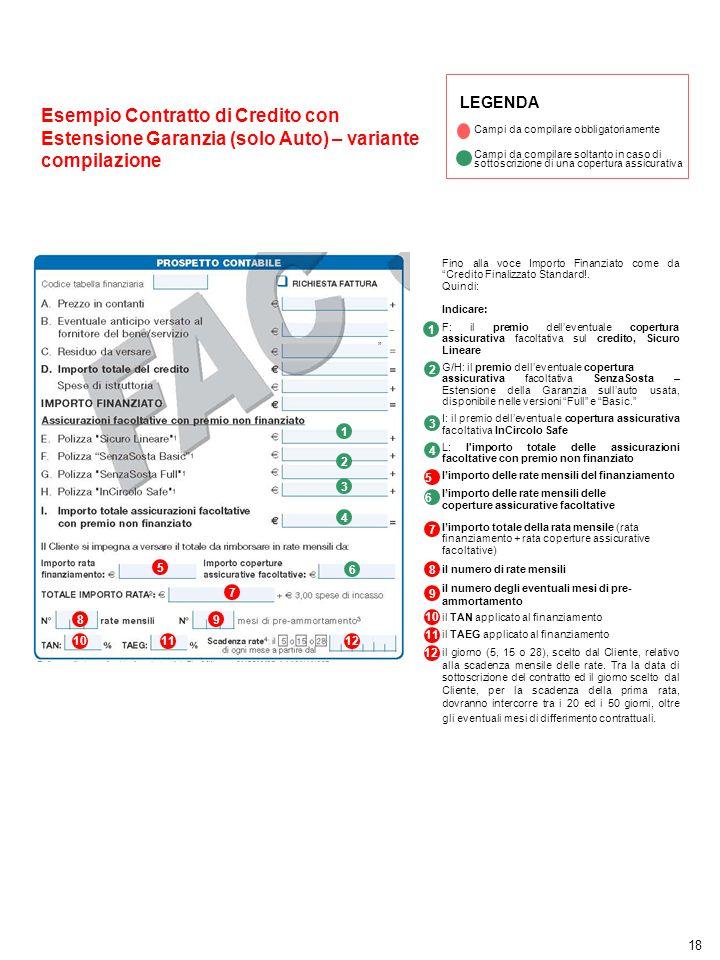 """18 LEGENDA Campi da compilare obbligatoriamente Esempio Contratto di Credito con Estensione Garanzia (solo Auto) – variante compilazione 5 """" Fino alla"""