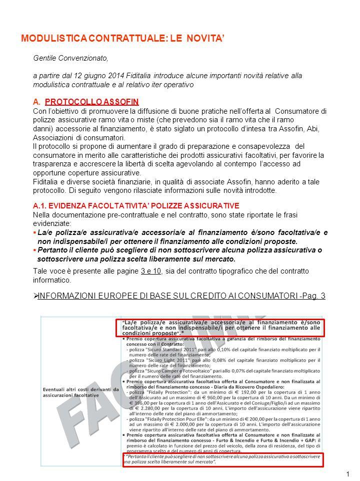 1 MODULISTICA CONTRATTUALE: LE NOVITA' Gentile Convenzionato, a partire dal 12 giugno 2014 Fiditalia introduce alcune importanti novità relative alla