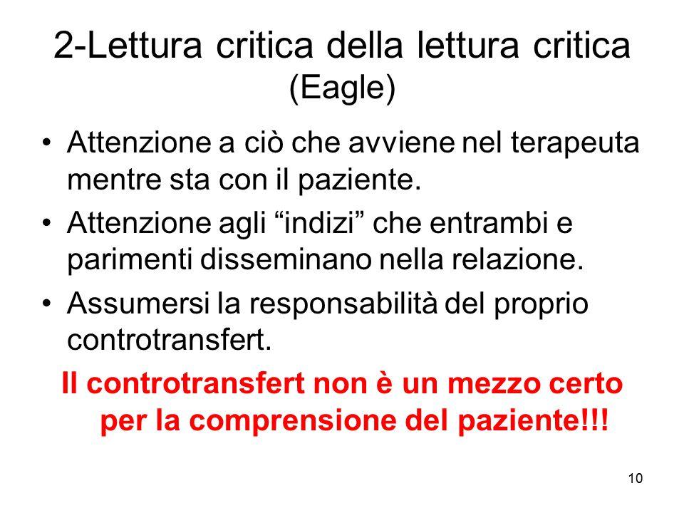 """10 2-Lettura critica della lettura critica (Eagle) Attenzione a ciò che avviene nel terapeuta mentre sta con il paziente. Attenzione agli """"indizi"""" che"""