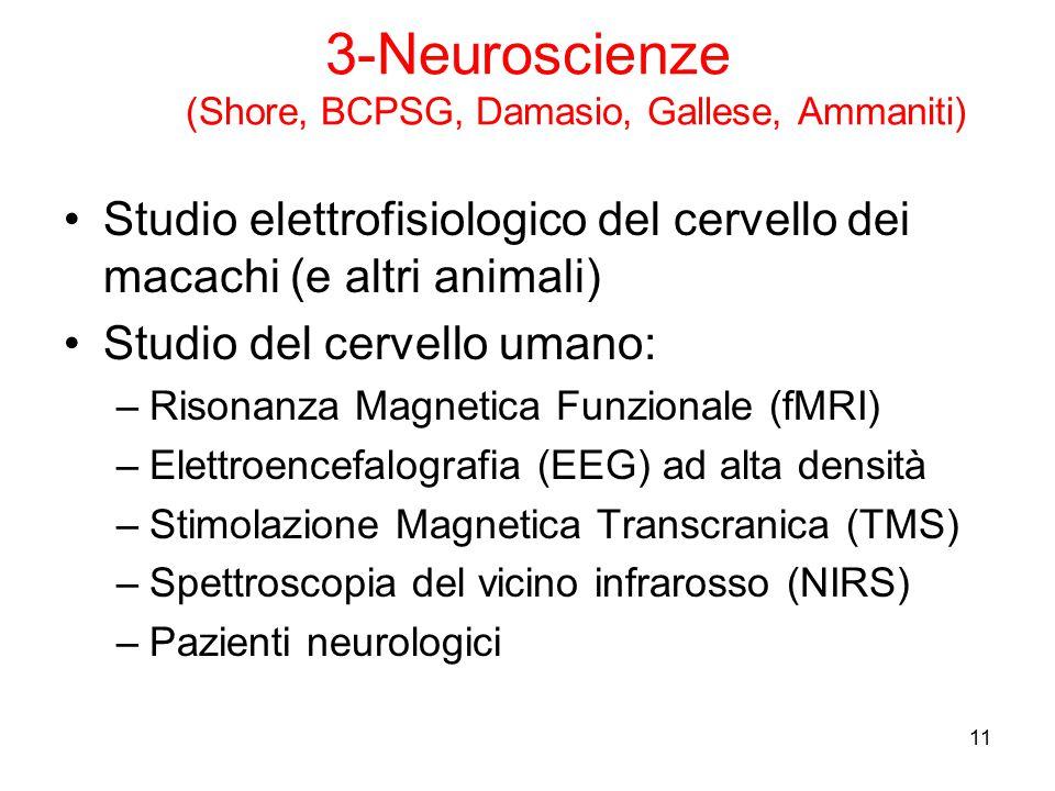 11 3-Neuroscienze (Shore, BCPSG, Damasio, Gallese, Ammaniti) Studio elettrofisiologico del cervello dei macachi (e altri animali) Studio del cervello