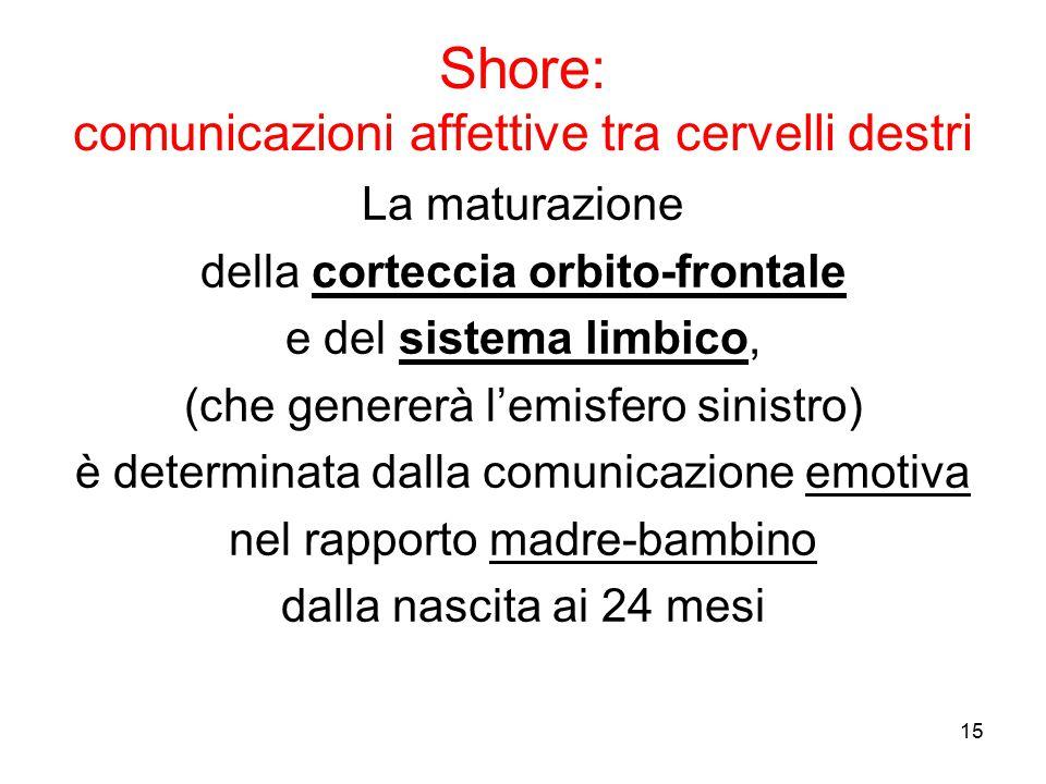 15 La maturazione della corteccia orbito-frontale e del sistema limbico, (che genererà l'emisfero sinistro) è determinata dalla comunicazione emotiva