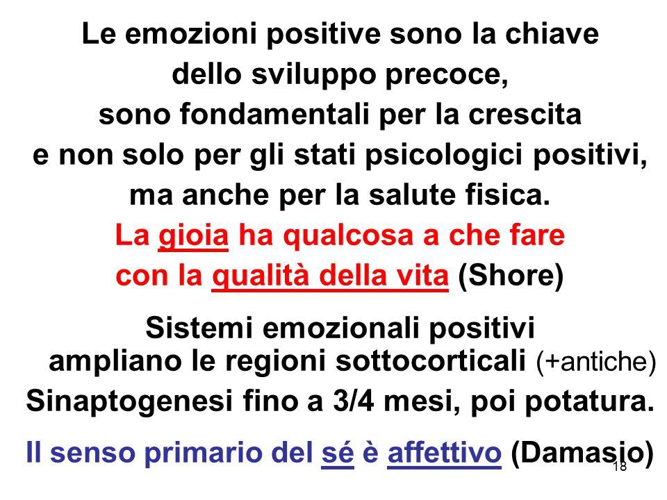 18 Le emozioni positive sono la chiave dello sviluppo precoce, sono fondamentali per la crescita e non solo per gli stati psicologici positivi, ma anc