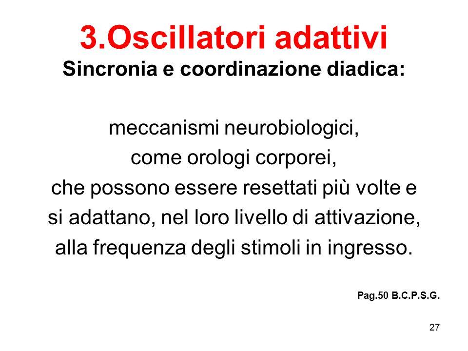27 3.Oscillatori adattivi Sincronia e coordinazione diadica: meccanismi neurobiologici, come orologi corporei, che possono essere resettati più volte