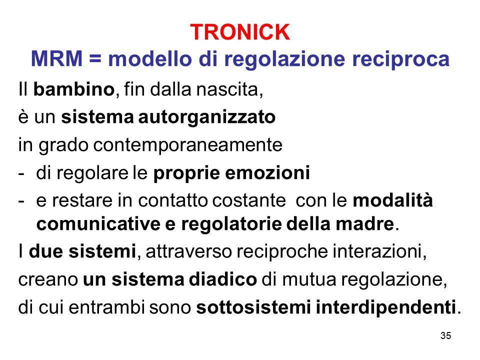 35 TRONICK MRM = modello di regolazione reciproca Il bambino, fin dalla nascita, è un sistema autorganizzato in grado contemporaneamente -di regolare