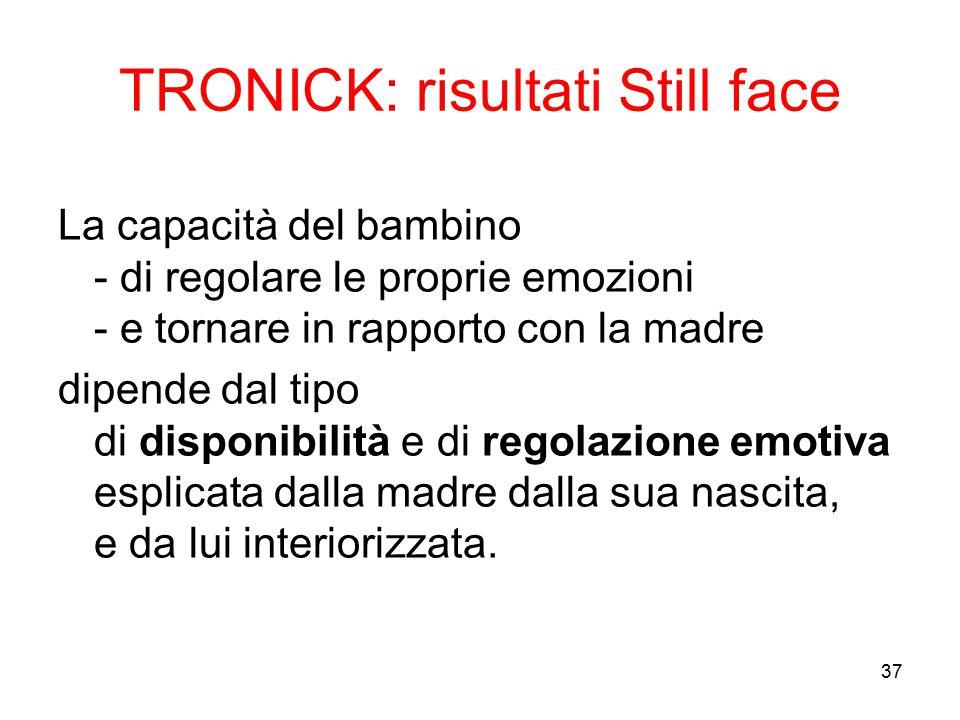 37 TRONICK: risultati Still face La capacità del bambino - di regolare le proprie emozioni - e tornare in rapporto con la madre dipende dal tipo di di