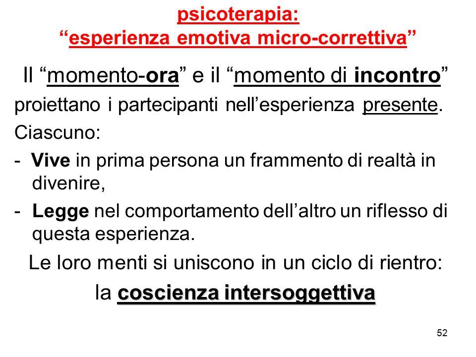 """52 psicoterapia: """"esperienza emotiva micro-correttiva"""" Il """"momento-ora"""" e il """"momento di incontro"""" proiettano i partecipanti nell'esperienza presente."""