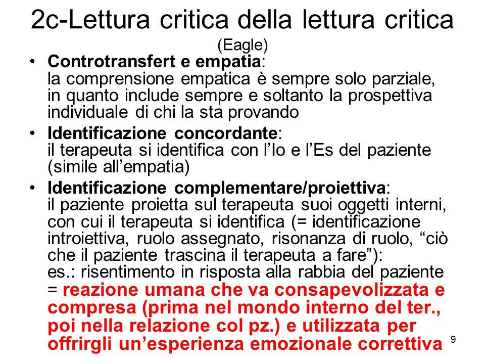 9 2c-Lettura critica della lettura critica (Eagle) Controtransfert e empatia: la comprensione empatica è sempre solo parziale, in quanto include sempr
