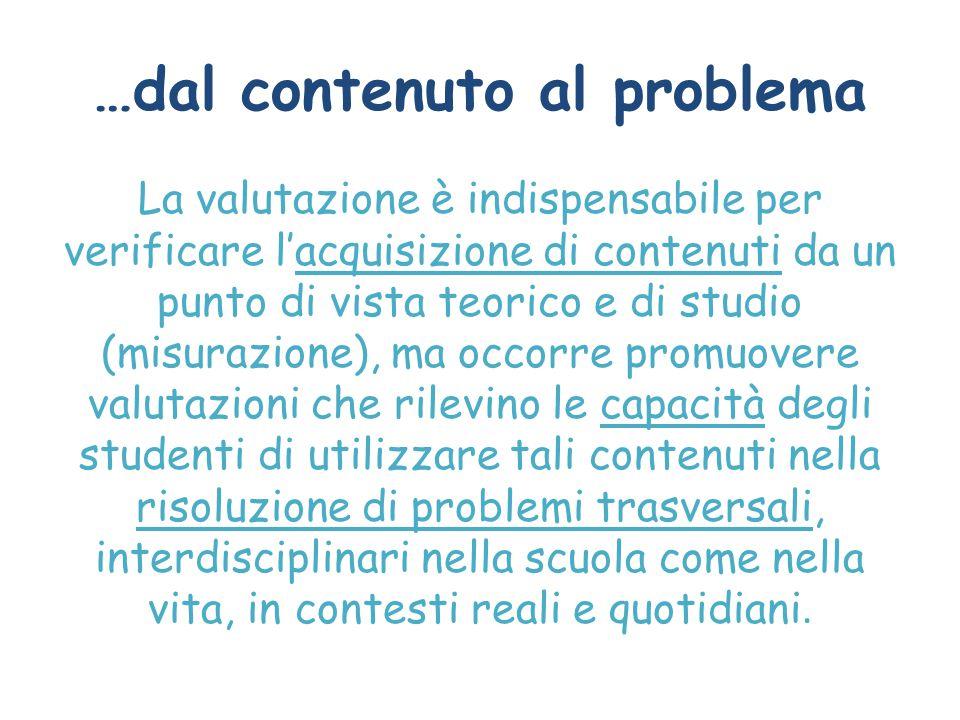 …dal contenuto al problema La valutazione è indispensabile per verificare l'acquisizione di contenuti da un punto di vista teorico e di studio (misura